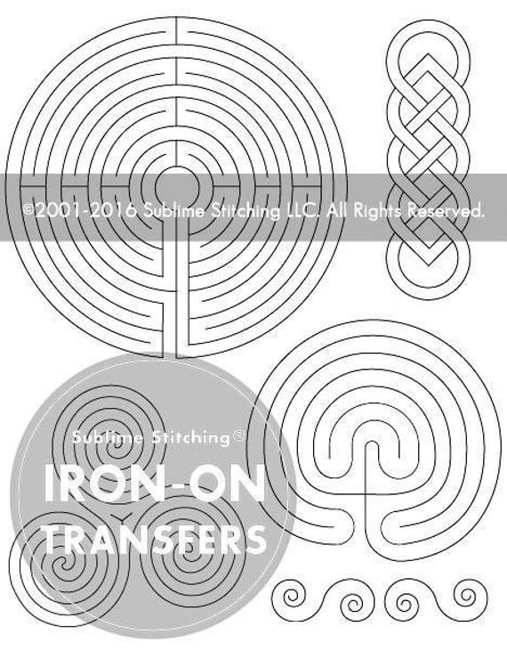 Labyrinth iron on hand embroidery transfer patterns