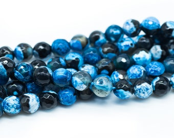 Faceted Agate Beads, 6mm,   60pc Strand, 1mm Hole, Blue -B789