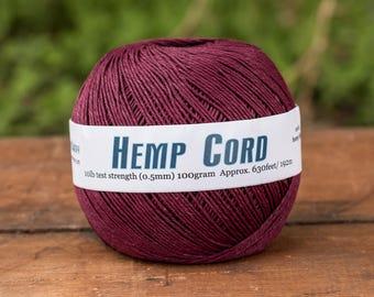 Hemp Cord, Colored Hemp Twine,  0.5mm, 10lb, 630 Feet,   Hemp Cord Ball,  Burgundy