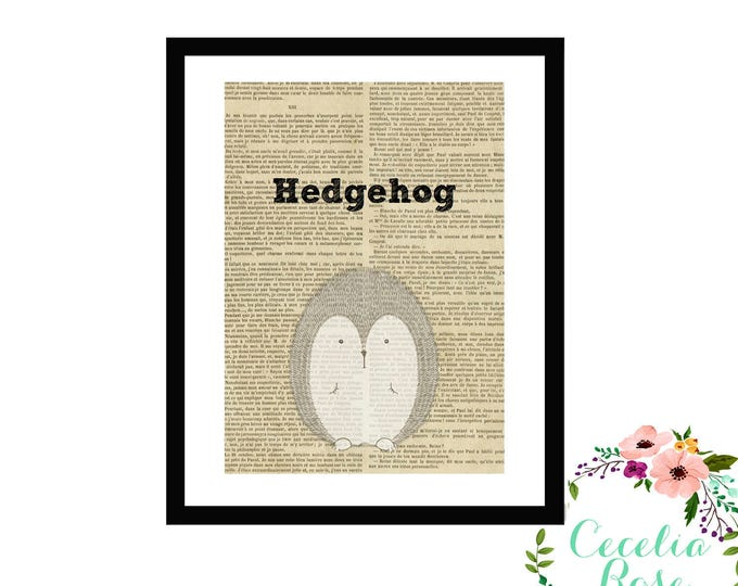 Hedgehog Book Art Vintage Book Art Cute Simple Box Frame or Print