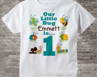 Boy's One Year Old Bug Birthday Shirt or Onesie with Name, 1st Birthday Shirt, Personalized Bug Birthday Theme 06202014a