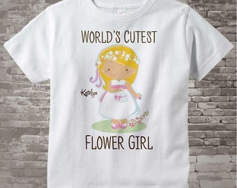 Flower Girl Shirt or Onesie Bodysuit, Personalized Infant, Toddler or Youth Tee Shirt with cute little girl 11152015d
