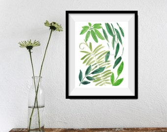 Green leaves print, Botanical art print, leaves watercolor, watercolor print, green hues, zen, abstract, foliage, garden, home and living