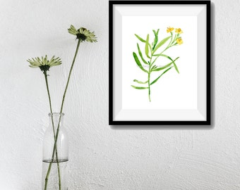 Tarragon art print ,watercolor print, kitchen art, herb art, botanical art print, Peridot green, mothers day, minimalist art, foodie gift