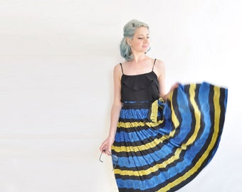 mid century tribal full skirt . 1950 blue yellow batik print midi .extra small.small.xs