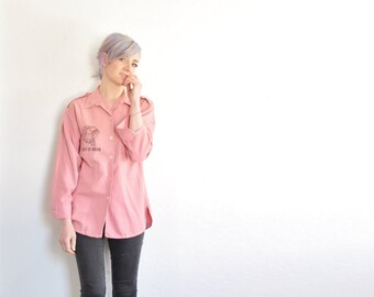 rare 1970 indian chief blouse . pink chambray cotton . anime cartoon .small.medium .sale