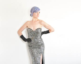 black silver sequin beaded gown . real deal formal disco ball dress .medium.large