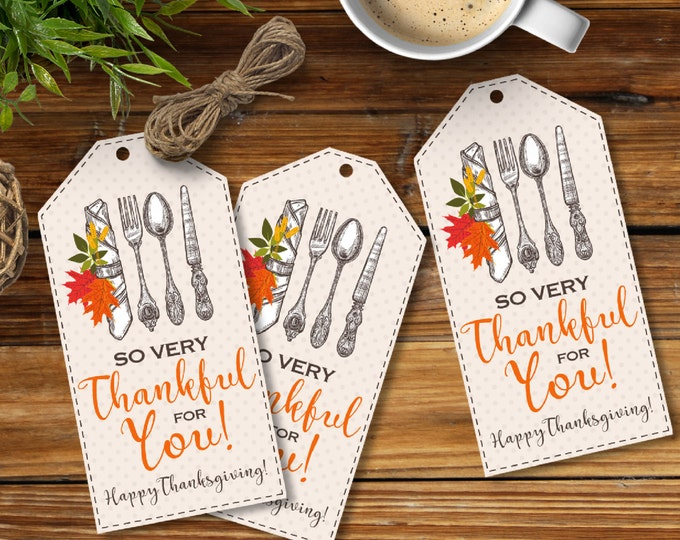 Thanksgiving Party Favor Tag, Thanksgiving Tag, Thankful Thank You Tag, Thankful Gift Tag, Leftover Tag | Instant Download PDF Printable