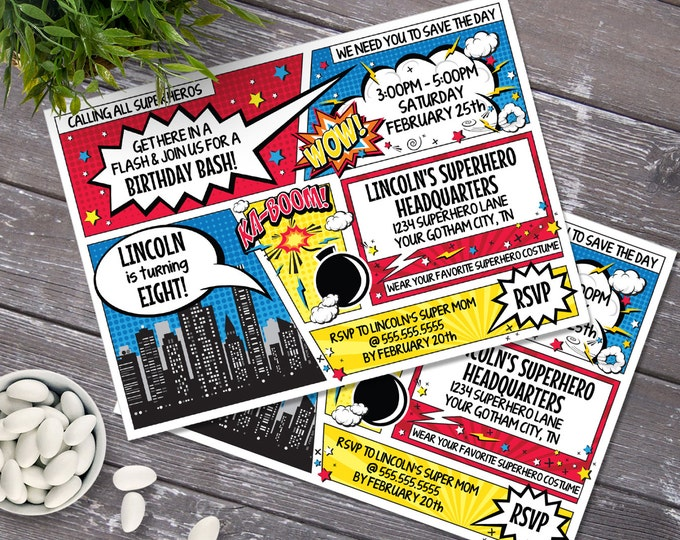 Superhero Invitation - Superhero Birthday Party, Comic Book Invitation with Editable Text - DIY INSTANT Download PDF Printable