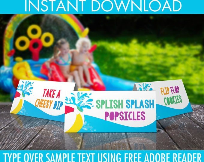 Pool Party Food Labels - Table Texts, Buffet Tags, Tent Cards, Party Decor, Summer Decor  | DIY Editable Text Instant Download PDF Printable