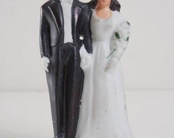 Vintage 1940 Art Deco Bride and Groom Bisque Wedding Cake Topper Swing Era