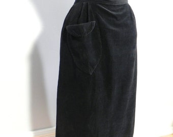 Vintage 1950s Black Wiggle Skirt / Black Cord Skirt with Cute Cuff Pocket sm - on sale