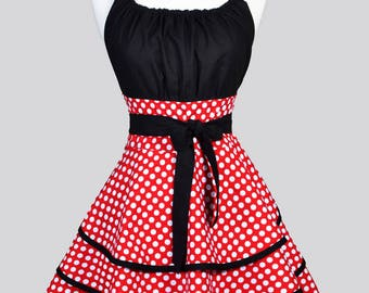 Womens Flirty Chic Apron . Red and White Polka Dot Cute Retro Vintage Style Sexy Retro 3 Layer Skirt Pin Up Kitchen Apron