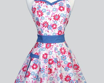 Sweetheart 50s Womens Apron . Denim Blue and Fuschia on Ivory Retro Cute and Flirty Vintage Style Pin Up Kitchen Apron with Fitted Bodice