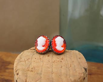 Sofia--Sterling Silver Cameo Earrings--Vintage Glass Cabochon--Orange--Oxidized Sterling Silver Post Earrings