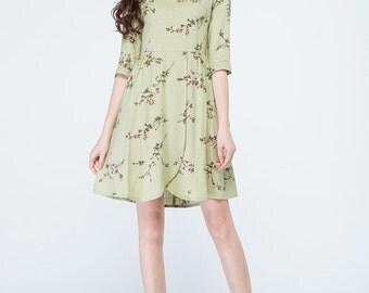 short dress, flower dress, summer dress, cute dress, garden dress, girls dresses, party dress, made to order, linen dress, handmade 1711