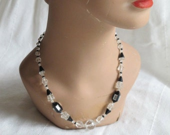 1920s Art Deco Necklace Black Faceted Glass and Crystal Mirror Panel Accents Jazz Age Flapper Era Mirrored Beads