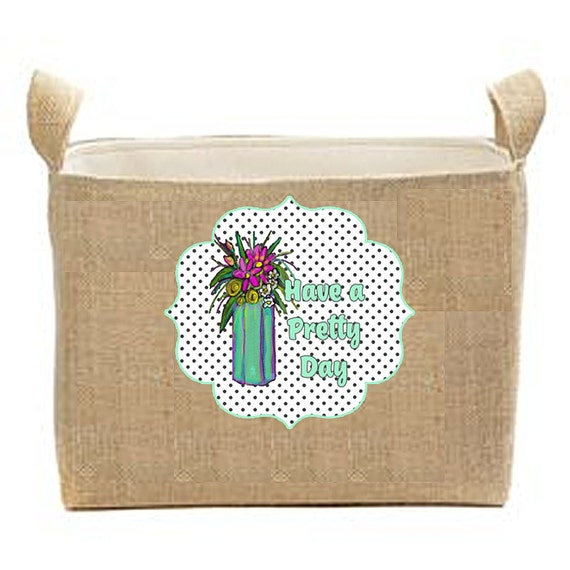Mud Room Storage, Burlap Bin, office organization, kids toy box, pet box, pet supplies storage box, large storage container, pretty floral