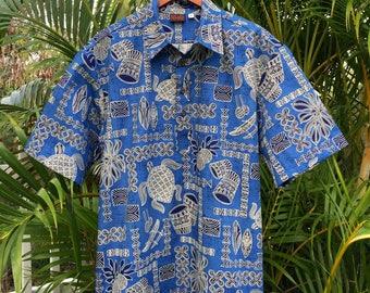 "Men's Hawaiian Aloha Shirt Handmade Pullover Style, Marine ""Keanu"""