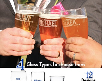 Personalized Groomsmen Glasses, Laser Etched, Custom wedding favors, Best Man Beer Mugs, Groomsmen Gifts, Father of the Bride Gift