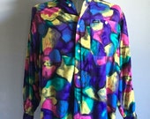 Vintage Men's 90's Guess Shirt, Abstract, Long Sleeve, Button Down (M)