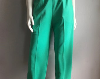 Vintage Women's 70's High Waisted Polyester Pants, Turquoise, Tapered Leg (L)