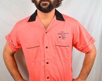 Vintage 80s 1988 Pink Thin Summer Button Up Orange Bowling Shirt - Dart Tournament Vegas