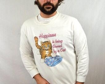 Vintage Kitty Cat Funny 90s Sweatshirt
