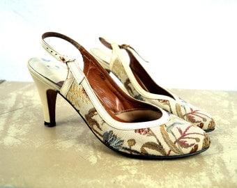 Vintage 1960s Tapestry Slingback Pumps Heels - Size 5 1/2 N - Thos Cort Ltd