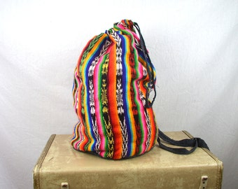 Vintage Woven Guatemalan Rainbow Fabric Tote Bag Backpack Rucksack