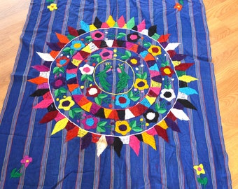 Vintage Woven Floral Hippie Guatemalan Wall Hanging