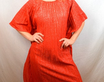 Vintage 60s Red Glitter Sparkle Pleated MuMu Caftan Dress Accoridan Pleats by Greenecastle