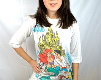 RARE Vintage 80s 90s Little Mermaid Nightie Night Shirt Tshirt Tee