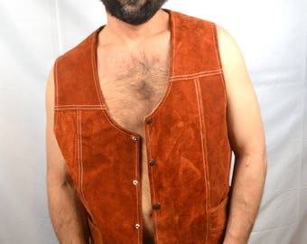 Vintage Leather Suede Vest - Zamher Made in Mexico