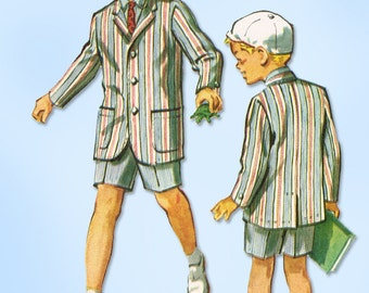 1950s Vintage McCall's Sewing Pattern 4502 Toddler Boys Blazer Suit Size 4