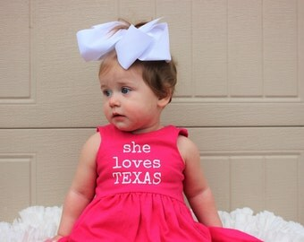 She loves - YOUR STATE, Bright Pink and White dress