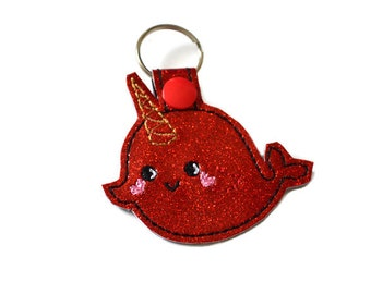 Narwhal Keychain | Kawaii Keychain | Narwhal Key Chain | Bag Tag | Nerd Gift | Unicorn of the Sea | Key Fob | Nautical Keychain | Charm