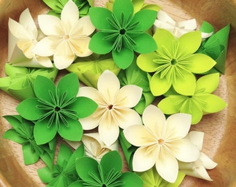 Outdoor Spring - Kelly Green, Cream, and Lime - 100 Origami Flowers with Free Shipping