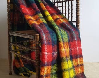 Superb Vintage 1960s Mohair Buchanan Tartan Camp Blanket | red, yellow, blue, green, purple, black | Scottish jewel tone mohair wool throw