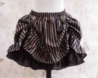 Striped steampunk skirt-brown black stripes skirt - bustle skirt -asymetric skirt- steampunk clothing- pirate- saloon- western skirt