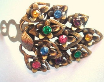 Fur Clip Signed Pat No  Multi Color Rhinestone Flower Brooch