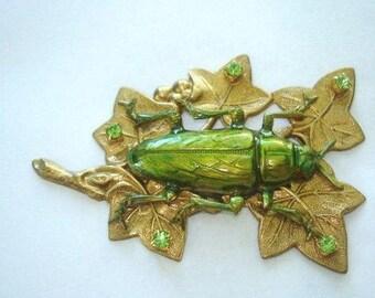 Cicada Rhinestone Leaf Brooch