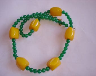 Green Beads Yellow Amber Necklace