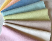 Hand Dyed Felted Wool, 8in.x 8in. - Pastel / Sorbet - for Applique, Penny Rugs, Sewing Projects / W546