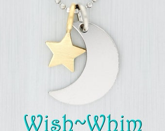 14K Crescent Moon and Star Charms or Necklace