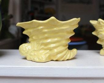 McCoy Pottery Cornucopia Planter Single Shell Vase Yellow 1955 VINTAGE by Plantdreaming