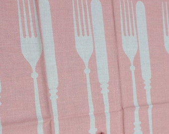 Knife and Fork Tea Towel Martex PINK Kitchen unused VINTAGE by Plantdreaming