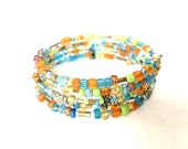 Bracelet - Memory Bracelet - Colorful Aqua, Orange, Gold, Green, Silver - Boho - Wrap - One Size