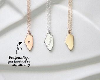 Illinois Heart Bracelet, Illinois Necklace Heart Necklace Small Rose Gold Illinois Pendant, Heart Sterling Silver Illinois Tiny Chicago