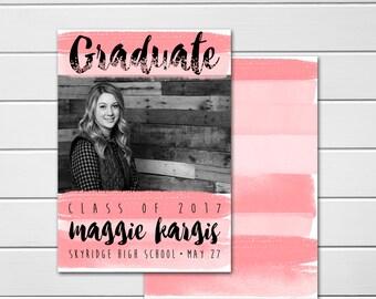 Graduation Announcement, College Graduation Announcement, High School Graduation,  Photo card, Class of 2017, Watercolor, Double Sided